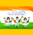 indian kid holding flag of india with pride on vector image