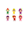 kids in carnival clothes set cute little boys and vector image