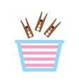 laundry basket with clothespin vector image vector image