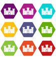 medieval fortification icon set color hexahedron vector image vector image