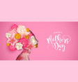 mothers day card of pink papercut mom and flowers vector image vector image