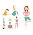 pregnancy sport fitness people healthy character vector image vector image