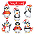 Set of christmas penguin characters set 1