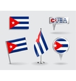 Set of Cuban pin icon and map pointer flags vector image vector image