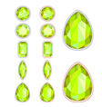 set of five forms of citrine cut and two kinds of vector image vector image