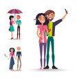 set of three couples in love on white background vector image