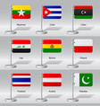 Set of world table flags vector image
