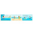 set scenes from surf school vector image