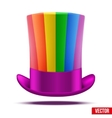 Striped of rainbow big gentleman hat cylinder vector image vector image