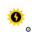 Sun energy logo with lightning bolt vector image vector image