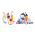 tourism travelers couple and family traveling vector image vector image