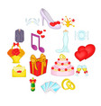 wedding icons set cartoon style vector image