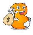 with money bag character paper cut number three vector image