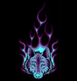wolf flaming fire logo mascot vector image