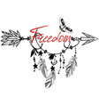 wooden arrow with freedom vector image vector image