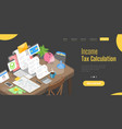 3d isometric flat landing page template for vector image vector image