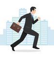 a businessman running with his briefcase vector image vector image