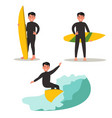 A set of images of a male surfer