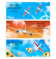 airplanes banners realistic vector image