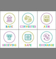 bank and fund safe converter scales and currency vector image