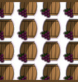 barrel of wine with grape background vector image vector image