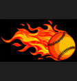 baseball with flames on black background vector image