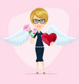 beautiful cute angel girl with heart and flower vector image