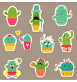 big set cute cartoon cacti vector image