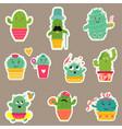 big set of cute cartoon cacti vector image vector image
