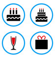 birthday cake rounded icons vector image