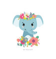 blue elephant with flowers vector image