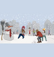 cartoon kids playing snowball in the park with vector image
