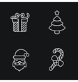 Christmas icons thin line style flat design vector image