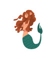 cute little mermaid swimming with folded hands vector image vector image