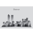 Denver city skyline silhouette in grayscale vector image vector image