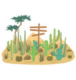 desert landscape background with cactus and vector image vector image