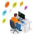 Developer Using Laptop Computer Web Development vector image vector image