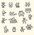 doodle handrawn robots vector image