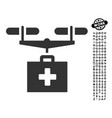 drug drone delivery icon with work bonus vector image vector image