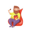 fat bearded man sitting on armchair and eating vector image