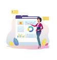 financial analytics girl with interactive display vector image