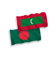flags of maldives and bangladesh on a white