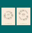 floral wreath set wedding invitation templates vector image