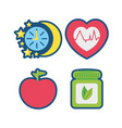 fruits chronometer healthy pills and heartbeat vector image vector image