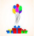 gift boxes and colorful balloons over white vector image