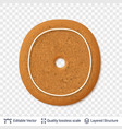 gingerbread letter o symbol with drop shadow vector image