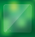 Glass frame with water drops on blurred green vector image