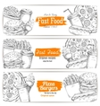 Greasy and unhealthy fast food banner sketch vector image vector image