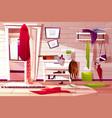 hallway room messy interior vector image vector image