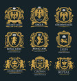 heraldic coat of arms with lion and eagle vector image vector image